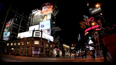 Downtown Toronto Street at Night Stock Footage
