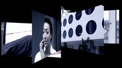 Montage portaits of mobile communication - stock footage