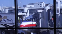 Plane train from window Stock Footage
