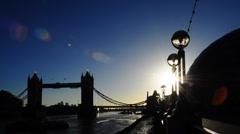 Tower Bridge, London - silhouette timelapse - stock footage