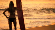 Surfer Girl at Sunrise Stock Footage