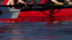 Women Crewboat hands and oars closeup rowing in unison - stock footage