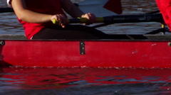 Women Crewboat Closeup hands and oars - stock footage