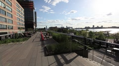 HUDSON RIVER NYC TRAFFIC FROM HIGHLINE PAN Stock Footage