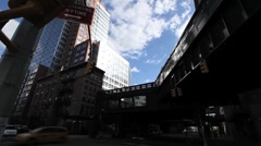 NYC HIGHLINE LOOK UP CLOUDS-FAST MO Stock Footage