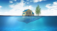Sinking house Stock Footage