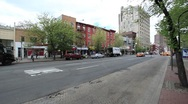 NYC VILLAGE PAN TO TRAFFIC - TAXIS Stock Footage
