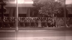 Military Procession archival march Stock Footage