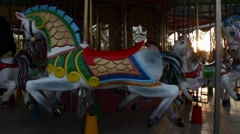 Merry-go-round in the evening Stock Footage