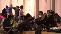 Black Friday - 21 Shoppers Camped Outside Stock Footage