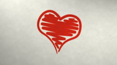 Heart shape slowly drawing on paper Stock Footage