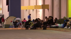 Black Friday - 18 Shoppers Camped Outside Stock Footage