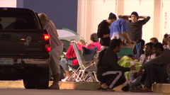 Black Friday - 16 Shoppers Camped Outside - stock footage