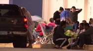 Black Friday - 16 Shoppers Camped Outside Stock Footage