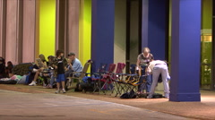 Black Friday -17 Shoppers Camped Outside Stock Footage
