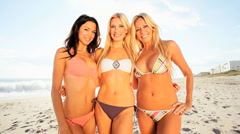 Girls Beach Fun Stock Footage