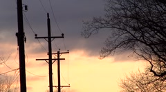 Power Lines Sunset/Sunrise Clouds Moving Stock Footage