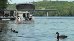 Ducks With Boat and Bridge in Background Stock Footage
