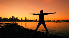 City Yoga at Sunrise - stock footage