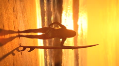 Vertical Surf Girl at Sunrise Stock Footage