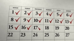 Calendar on paper Stock Footage