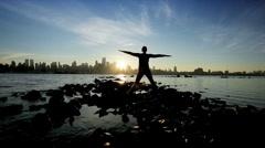 Sunrise City Yoga Stock Footage