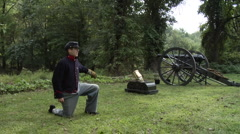 American Civil War Cannon and Mortar firing Stock Footage