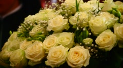 Bouquet of white roses - stock footage