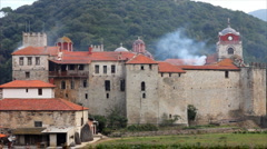 Orthodox monastery on Mount Athos in Greece - stock footage