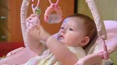 Baby in cradle Stock Footage