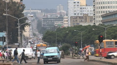 African intersection and city view - stock footage