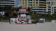 South Beach Life Guard Tower Stock Footage