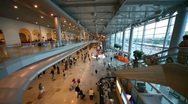 Stock Video Footage of People in  hall of  airport Domodedovo in Moscow, Russia.