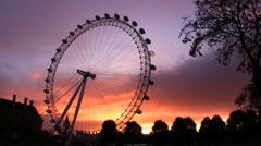 Millennium Wheel sunset Stock Footage