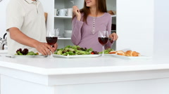 Couple have a happy dinner Stock Footage