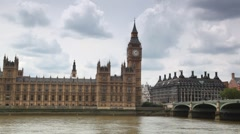 Houses of Parliament, Big Ben and Westminster Bridge near Thames Stock Footage
