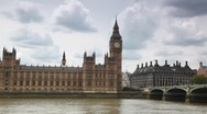 Stock Video Footage of Houses of Parliament, Big Ben and Westminster Bridge near Thames