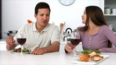 Couple have romantic dinner Stock Footage