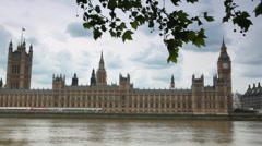 Houses of Parliament and Big Ben behind Thames river Stock Footage