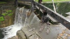 Man-made waterfall and sluice, 4th Lock, Circle Line, Grand Canal, Baggott Stock Footage