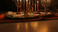 Stock Video Footage of Menorahs in the Darkness