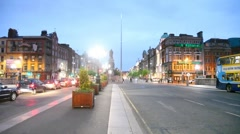 Evening Irish Nationwide Building Society on O'Connell Street in Dublin Stock Footage