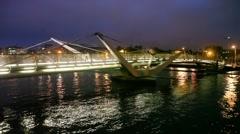 night Sean O'Casey Bridge in Dublin, Ireland - stock footage