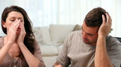 Couple worried because of bills - stock footage