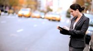Businesswoman with Wireless Tablet Stock Footage