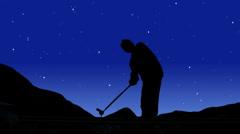 Golfer Silhouette Stars Stock Footage
