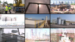 Construction of industrial complex multiscreen - stock footage