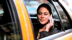 Businesswoman in Taxi with Cell Phone - stock footage