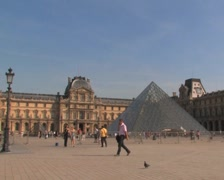 Stock Video Footage of Louvre Museum Courtyard, Paris