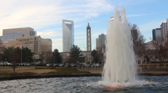 Downtown Charlotte, NC fountain - stock footage